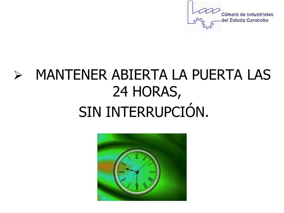 MANTENER ABIERTA LA PUERTA LAS 24 HORAS, SIN INTERRUPCIÓN.