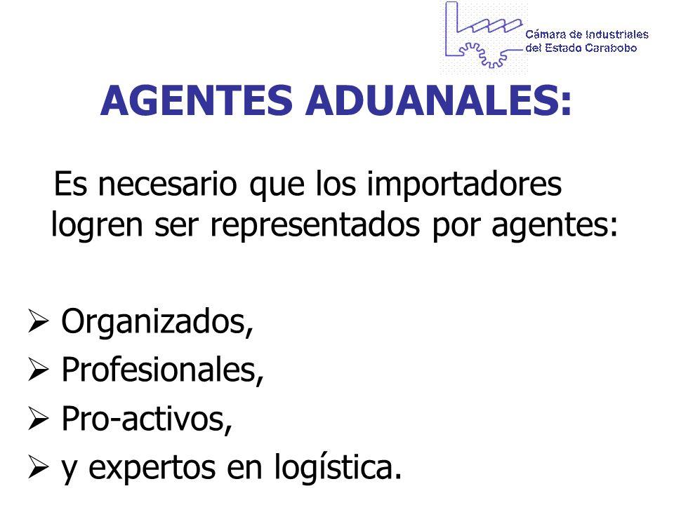 AGENTES ADUANALES: Es necesario que los importadores logren ser representados por agentes: Organizados, Profesionales, Pro-activos, y expertos en logí