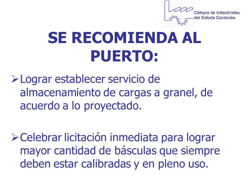 SE RECOMIENDA AL PUERTO: Lograr establecer servicio de almacenamiento de cargas a granel, de acuerdo a lo proyectado. Celebrar licitación inmediata pa