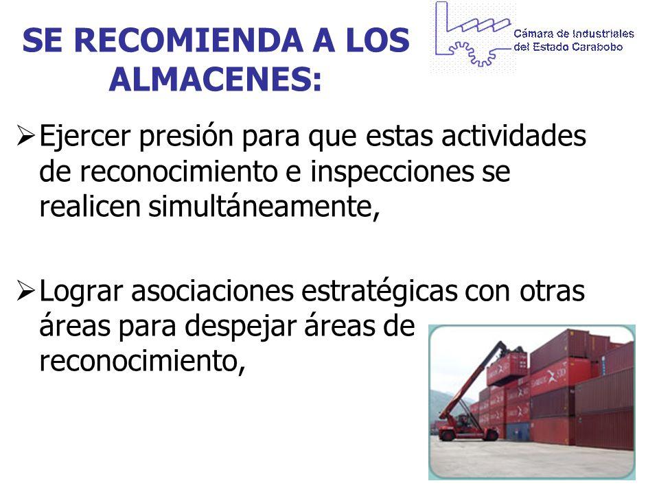 SE RECOMIENDA A LOS ALMACENES: Ejercer presión para que estas actividades de reconocimiento e inspecciones se realicen simultáneamente, Lograr asociac