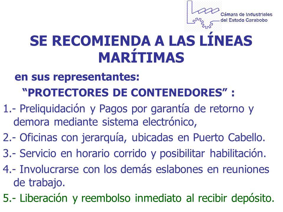 SE RECOMIENDA A LAS LÍNEAS MARÍTIMAS en sus representantes: PROTECTORES DE CONTENEDORES : 1.- Preliquidación y Pagos por garantía de retorno y demora