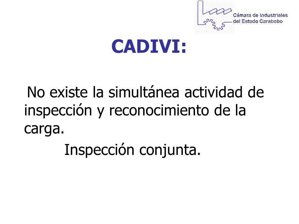 CADIVI: No existe la simultánea actividad de inspección y reconocimiento de la carga. Inspección conjunta.