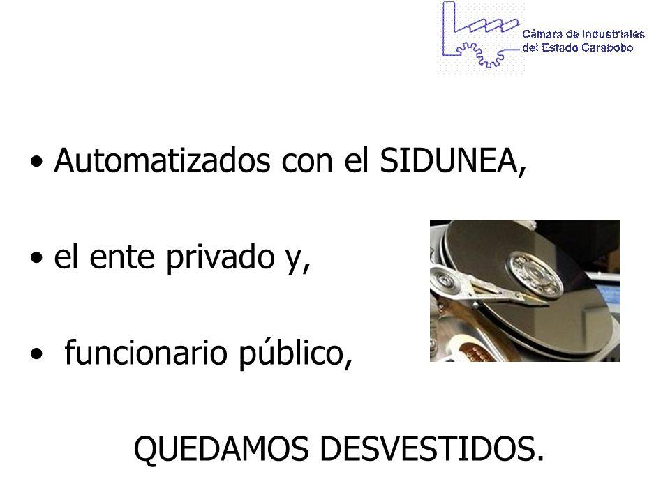 Automatizados con el SIDUNEA, el ente privado y, funcionario público, QUEDAMOS DESVESTIDOS.