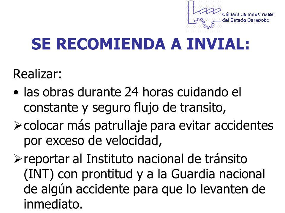 SE RECOMIENDA A INVIAL: Realizar: las obras durante 24 horas cuidando el constante y seguro flujo de transito, colocar más patrullaje para evitar acci