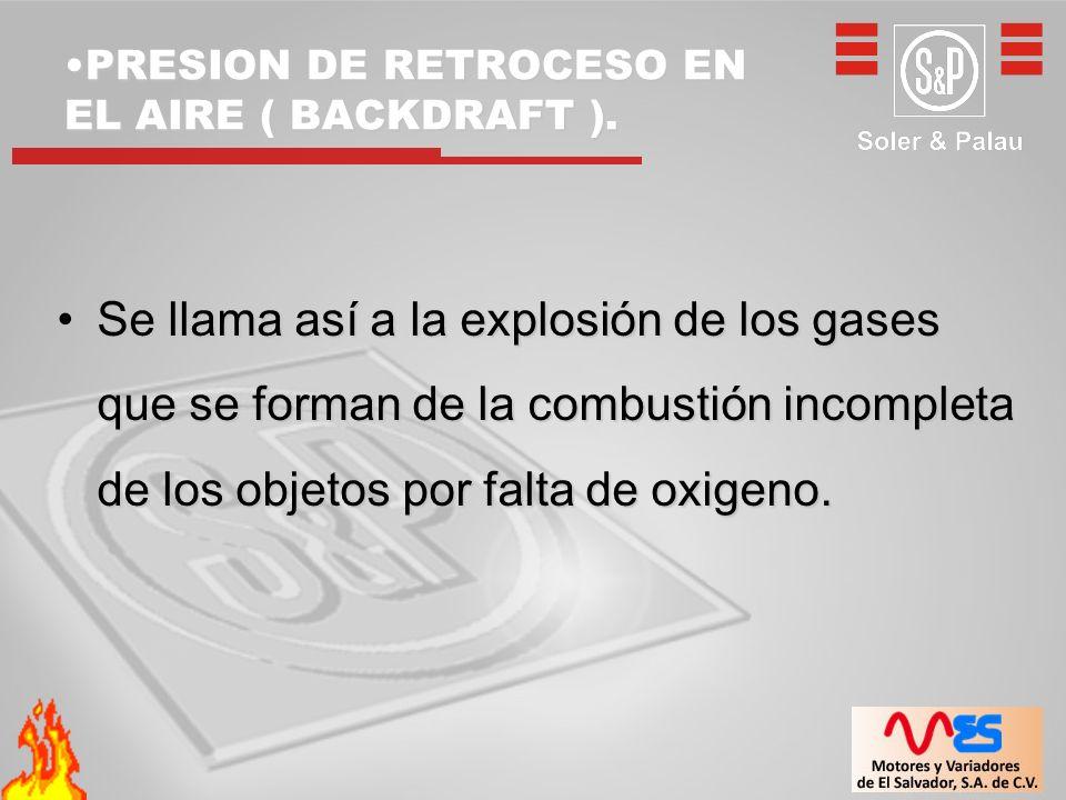 PRESION DE RETROCESO EN EL AIRE ( BACKDRAFT ).PRESION DE RETROCESO EN EL AIRE ( BACKDRAFT ). Se llama así a la explosión de los gases que se forman de