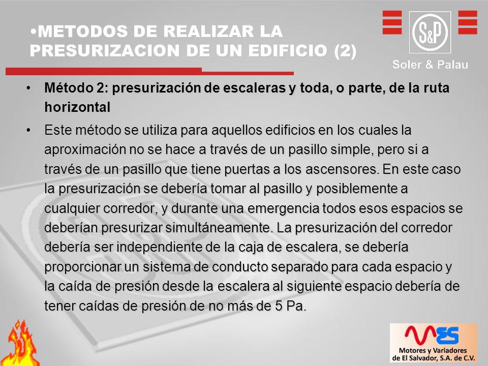 METODOS DE REALIZAR LA PRESURIZACION DE UN EDIFICIO (2)METODOS DE REALIZAR LA PRESURIZACION DE UN EDIFICIO (2) Método 2: presurización de escaleras y