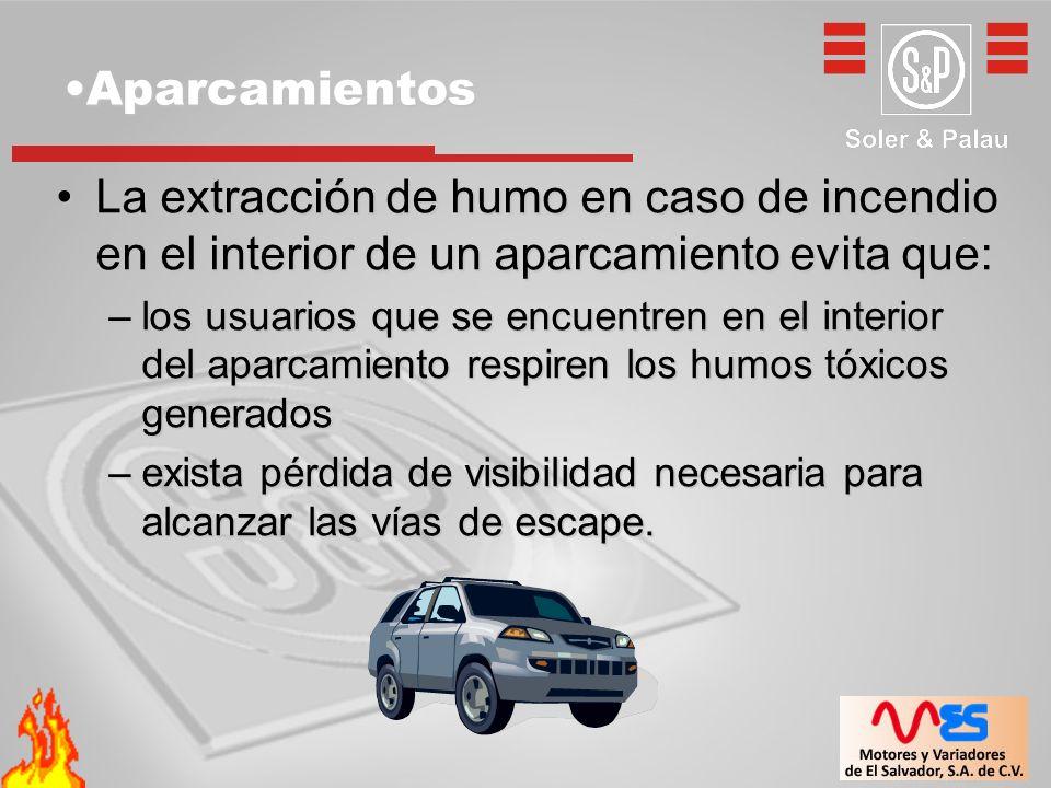 AparcamientosAparcamientos La extracción de humo en caso de incendio en el interior de un aparcamiento evita que:La extracción de humo en caso de ince