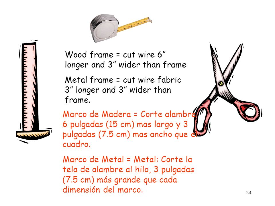 24 Wood frame = cut wire 6 longer and 3 wider than frame Metal frame = cut wire fabric 3 longer and 3 wider than frame.
