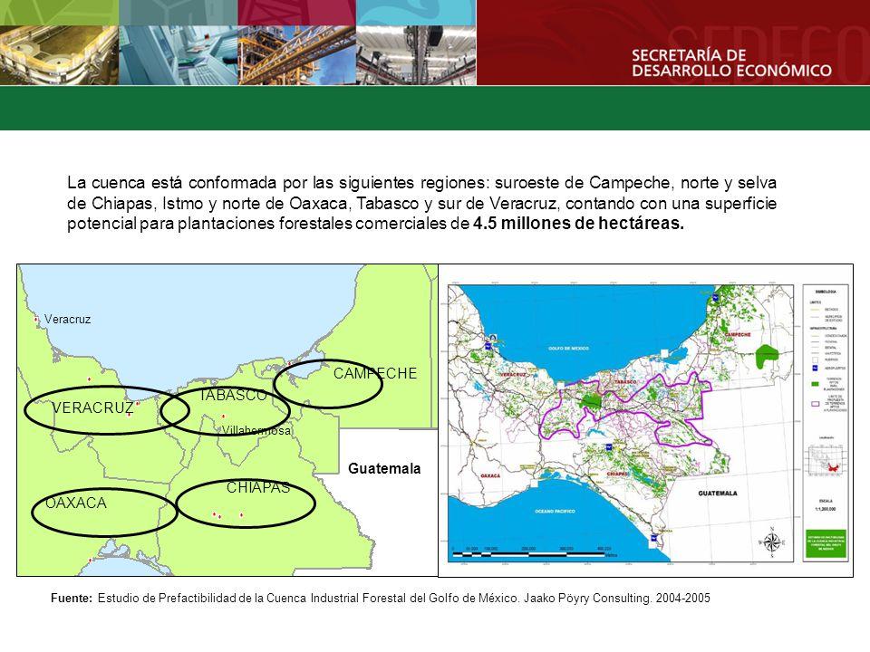 La cuenca está conformada por las siguientes regiones: suroeste de Campeche, norte y selva de Chiapas, Istmo y norte de Oaxaca, Tabasco y sur de Veracruz, contando con una superficie potencial para plantaciones forestales comerciales de 4.5 millones de hectáreas.