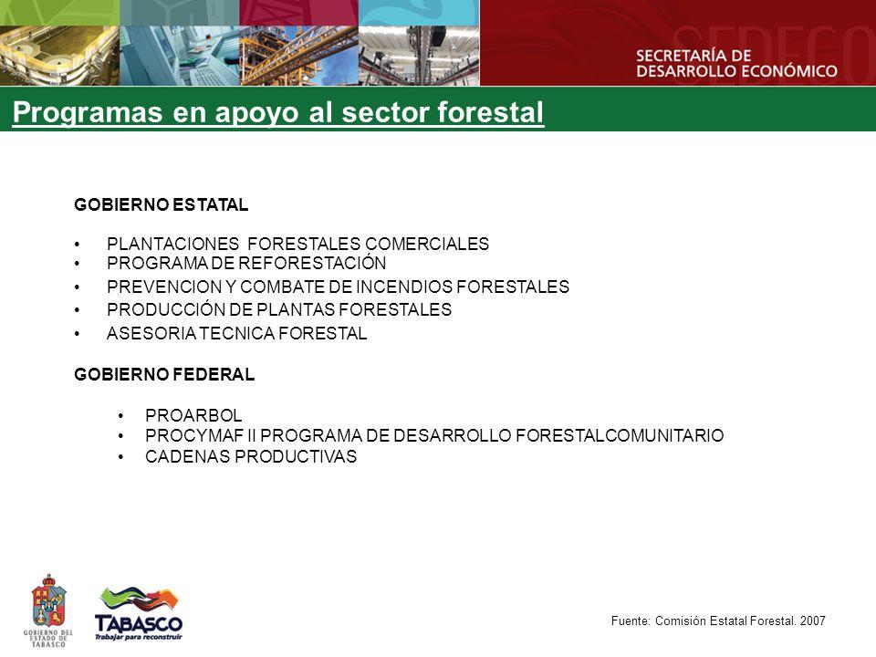 GOBIERNO ESTATAL PLANTACIONES FORESTALES COMERCIALES PROGRAMA DE REFORESTACIÓN PREVENCION Y COMBATE DE INCENDIOS FORESTALES PRODUCCIÓN DE PLANTAS FORESTALES ASESORIA TECNICA FORESTAL GOBIERNO FEDERAL PROARBOL PROCYMAF II PROGRAMA DE DESARROLLO FORESTALCOMUNITARIO CADENAS PRODUCTIVAS Programas en apoyo al sector forestal Fuente: Comisión Estatal Forestal.