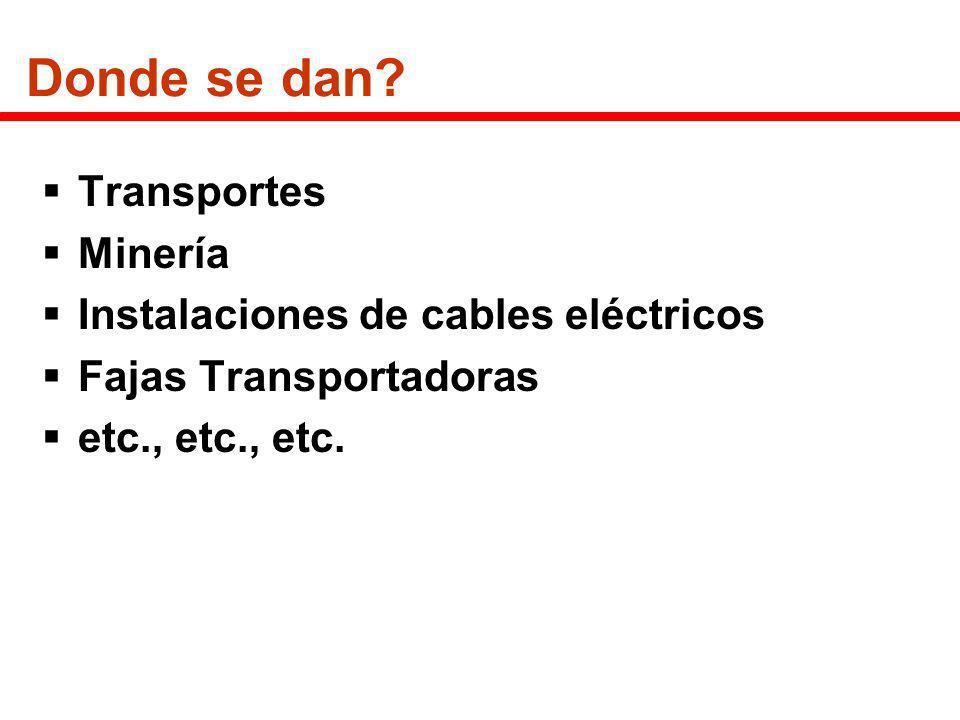 Donde se dan? Transportes Minería Instalaciones de cables eléctricos Fajas Transportadoras etc., etc., etc.