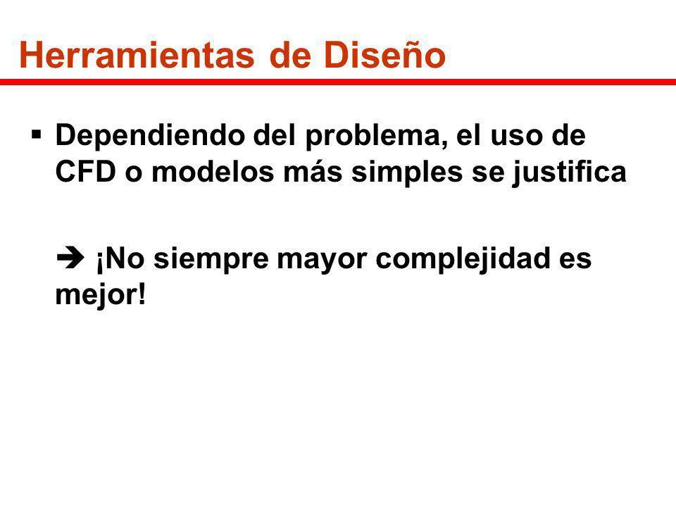 Herramientas de Diseño Dependiendo del problema, el uso de CFD o modelos más simples se justifica ¡No siempre mayor complejidad es mejor!