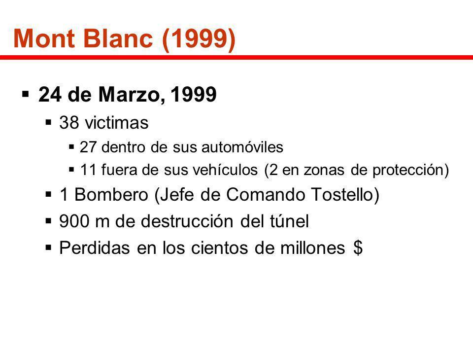 Mont Blanc (1999) 24 de Marzo, 1999 38 victimas 27 dentro de sus automóviles 11 fuera de sus vehículos (2 en zonas de protección) 1 Bombero (Jefe de C