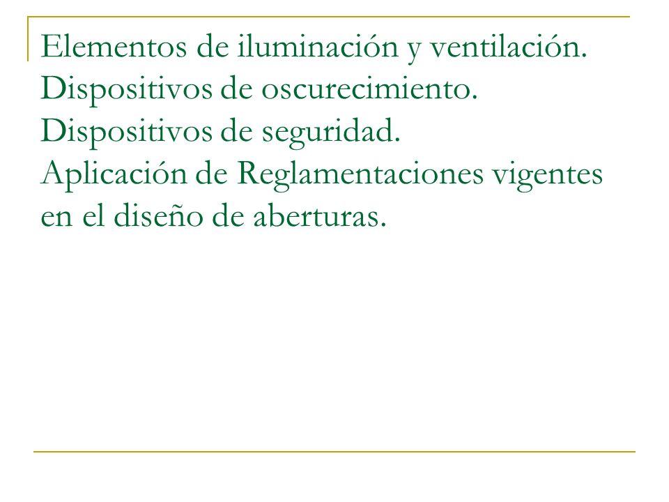Elementos de iluminación y ventilación. Dispositivos de oscurecimiento. Dispositivos de seguridad. Aplicación de Reglamentaciones vigentes en el diseñ