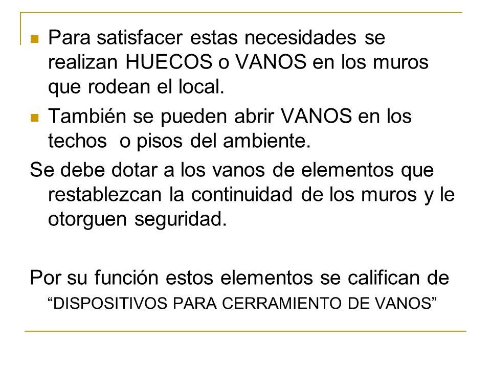 CLASIFICACION GENERAL Puertas y Ventanas.Dispositivos de Oscurecimiento Dispositivos de Seguridad.