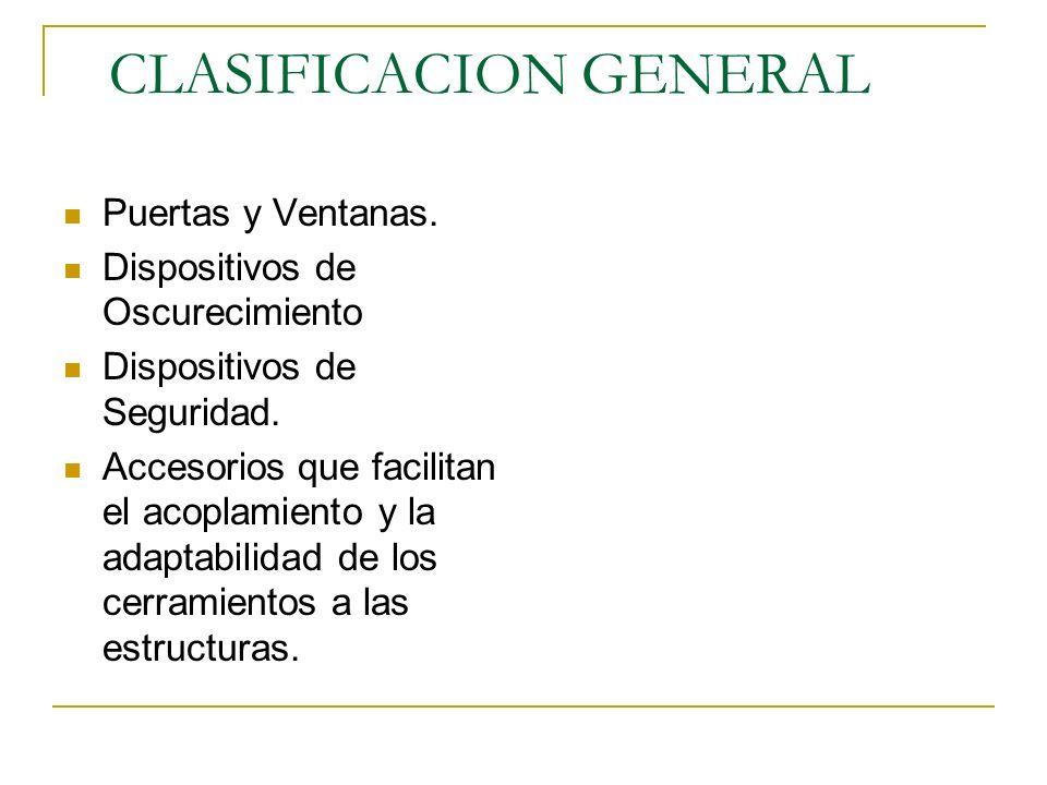 CLASIFICACION GENERAL Puertas y Ventanas. Dispositivos de Oscurecimiento Dispositivos de Seguridad. Accesorios que facilitan el acoplamiento y la adap
