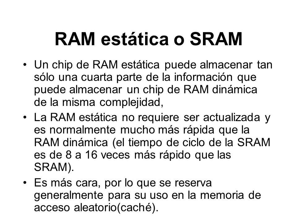RAM estática o SRAM Un chip de RAM estática puede almacenar tan sólo una cuarta parte de la información que puede almacenar un chip de RAM dinámica de la misma complejidad, La RAM estática no requiere ser actualizada y es normalmente mucho más rápida que la RAM dinámica (el tiempo de ciclo de la SRAM es de 8 a 16 veces más rápido que las SRAM).