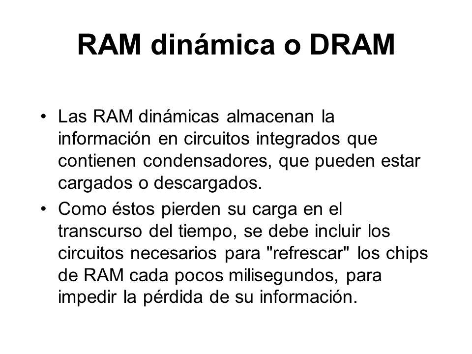RAM dinámica o DRAM Las RAM dinámicas almacenan la información en circuitos integrados que contienen condensadores, que pueden estar cargados o descargados.