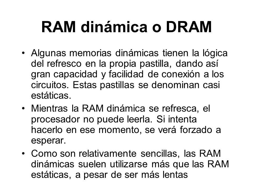 RAM dinámica o DRAM Algunas memorias dinámicas tienen la lógica del refresco en la propia pastilla, dando así gran capacidad y facilidad de conexión a los circuitos.