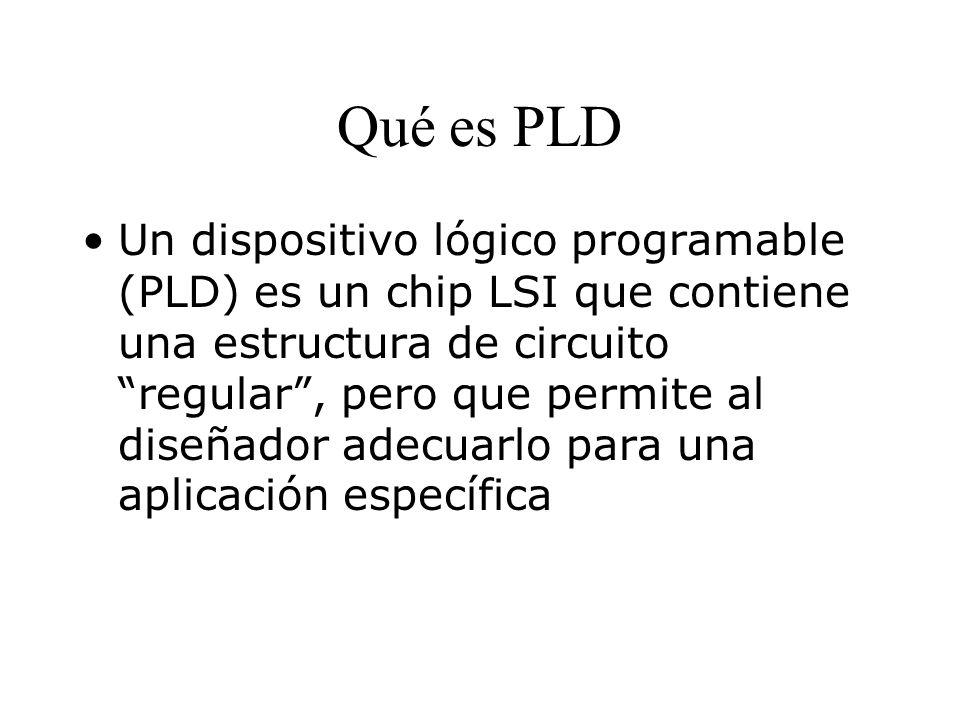 Qué es PLD Un dispositivo lógico programable (PLD) es un chip LSI que contiene una estructura de circuito regular, pero que permite al diseñador adecuarlo para una aplicación específica