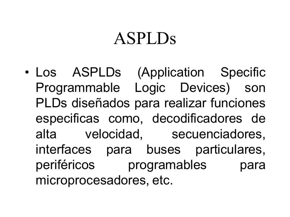 ASPLDs Los ASPLDs (Application Specific Programmable Logic Devices) son PLDs diseñados para realizar funciones especificas como, decodificadores de alta velocidad, secuenciadores, interfaces para buses particulares, periféricos programables para microprocesadores, etc.
