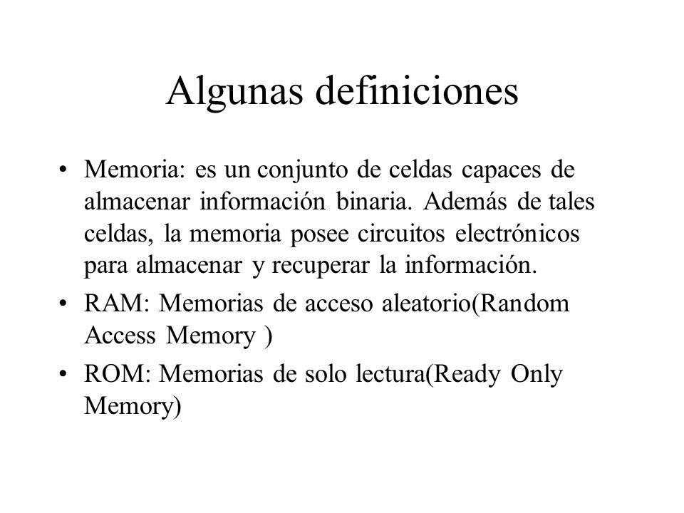 Algunas definiciones Memoria: es un conjunto de celdas capaces de almacenar información binaria.