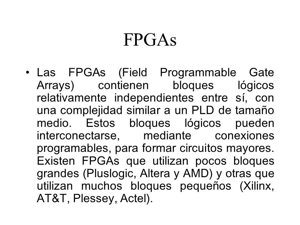 FPGAs Las FPGAs (Field Programmable Gate Arrays) contienen bloques lógicos relativamente independientes entre sí, con una complejidad similar a un PLD de tamaño medio.