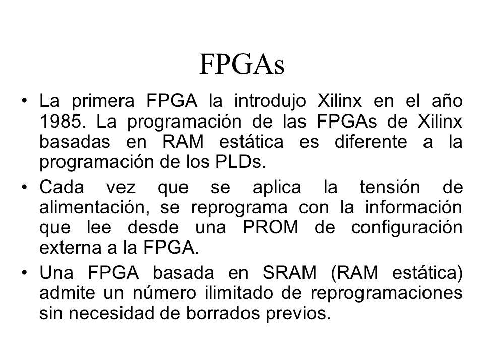 FPGAs La primera FPGA la introdujo Xilinx en el año 1985.