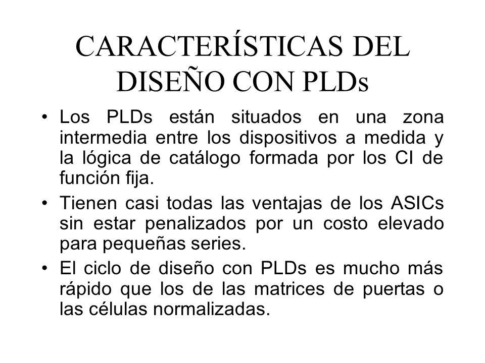 CARACTERÍSTICAS DEL DISEÑO CON PLDs Los PLDs están situados en una zona intermedia entre los dispositivos a medida y la lógica de catálogo formada por los CI de función fija.