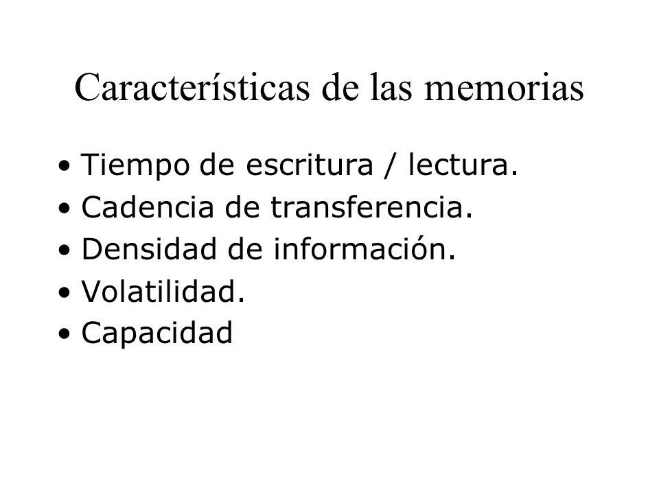 Características de las memorias Tiempo de escritura / lectura.