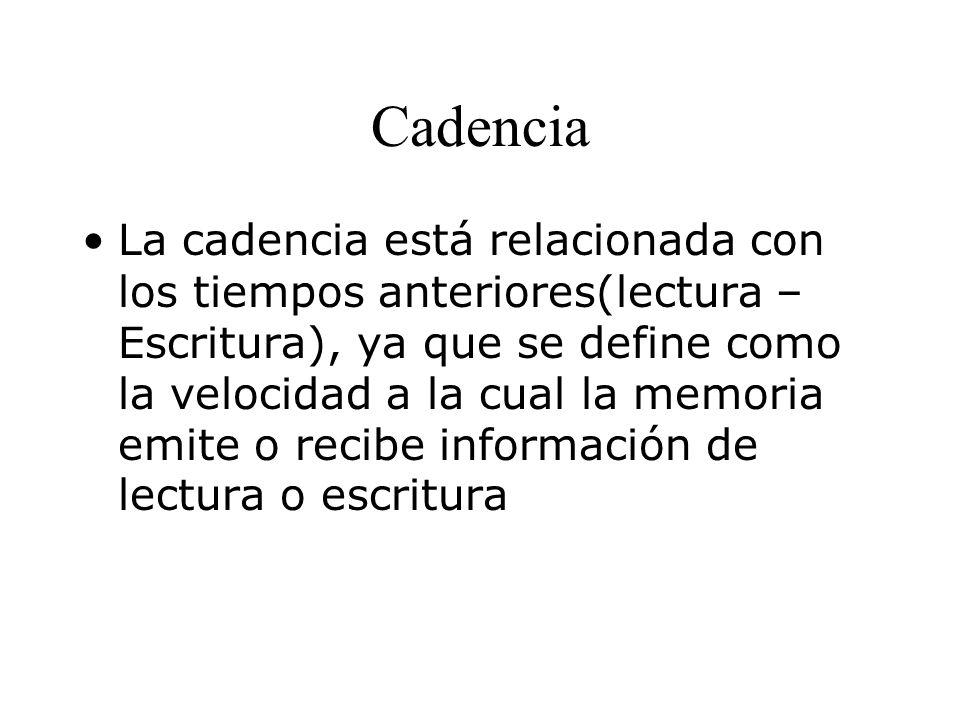Cadencia La cadencia está relacionada con los tiempos anteriores(lectura – Escritura), ya que se define como la velocidad a la cual la memoria emite o recibe información de lectura o escritura