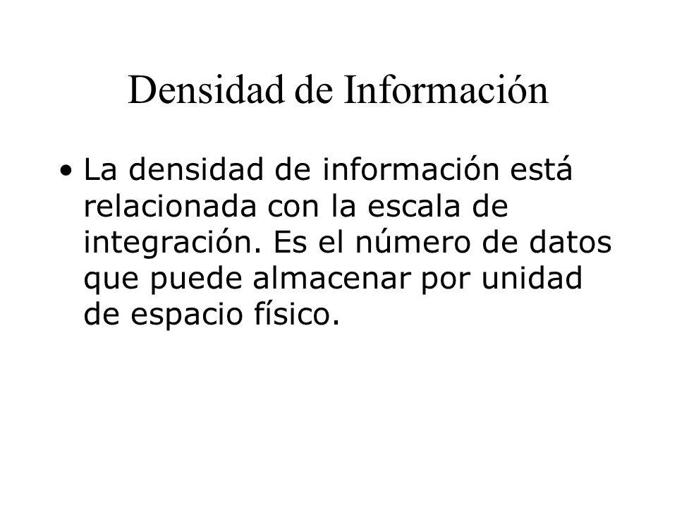 Densidad de Información La densidad de información está relacionada con la escala de integración.