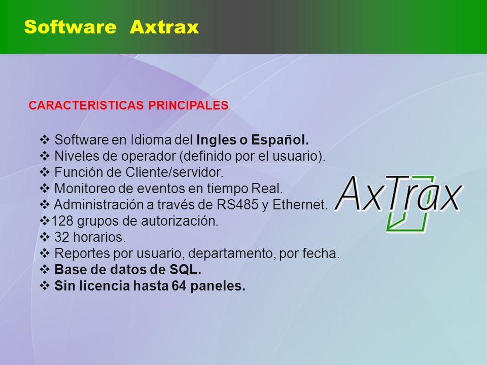 Software Axtrax CARACTERISTICAS PRINCIPALES Software en Idioma del Ingles o Español. Niveles de operador (definido por el usuario). Función de Cliente