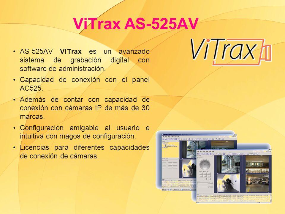 ViTrax AS-525AV AS-525AV ViTrax es un avanzado sistema de grabación digital con software de administración. Capacidad de conexión con el panel AC525.