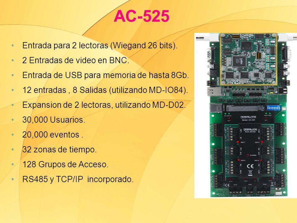 Entrada para 2 lectoras (Wiegand 26 bits). 2 Entradas de video en BNC. Entrada de USB para memoria de hasta 8Gb. 12 entradas, 8 Salidas (utilizando MD