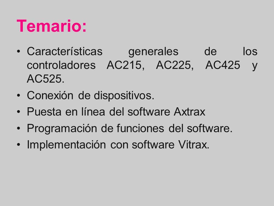 Temario: Características generales de los controladores AC215, AC225, AC425 y AC525. Conexión de dispositivos. Puesta en línea del software Axtrax Pro