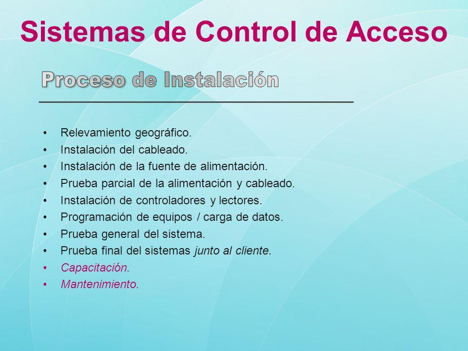 Sistemas de Control de Acceso Relevamiento geográfico. Instalación del cableado. Instalación de la fuente de alimentación. Prueba parcial de la alimen