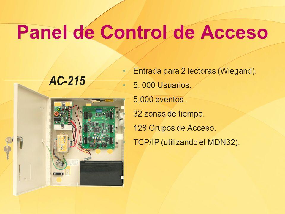 Panel de Control de Acceso AC-215 Entrada para 2 lectoras (Wiegand). 5, 000 Usuarios. 5,000 eventos. 32 zonas de tiempo. 128 Grupos de Acceso. TCP/IP