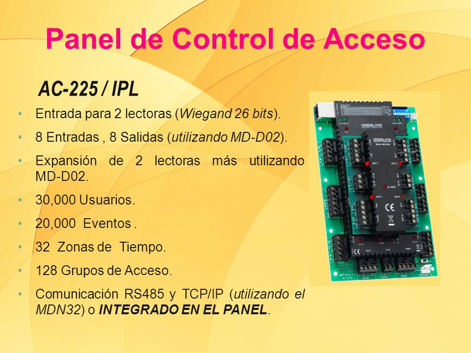 AC-425IPL Entrada para 4 lectoras (Wiegand 26 bits).