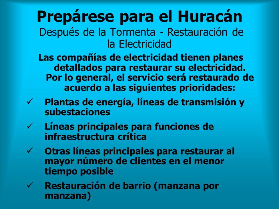 Prepárese para el Huracán Después de la Tormenta - Restauración de la Electricidad Las compañías de electricidad tienen planes detallados para restaur