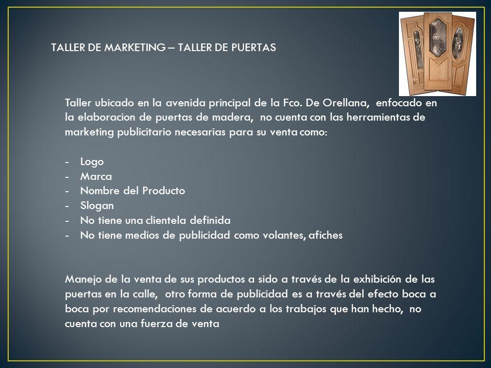 TALLER DE MARKETING – TALLER DE PUERTAS Taller ubicado en la avenida principal de la Fco. De Orellana, enfocado en la elaboracion de puertas de madera