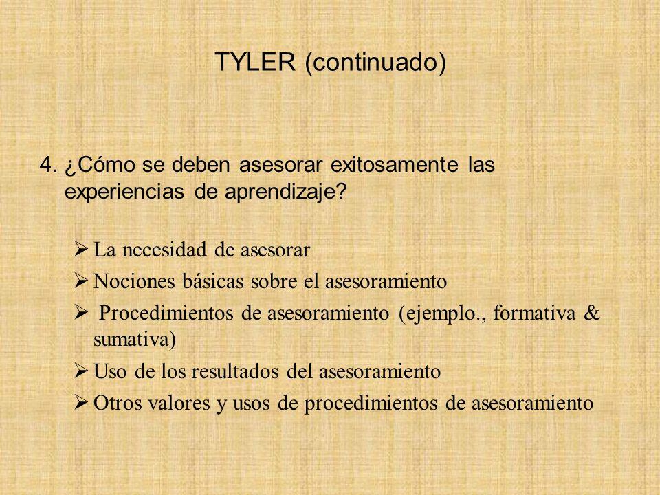 TYLER (continuado) 4. ¿Cómo se deben asesorar exitosamente las experiencias de aprendizaje? La necesidad de asesorar Nociones básicas sobre el asesora