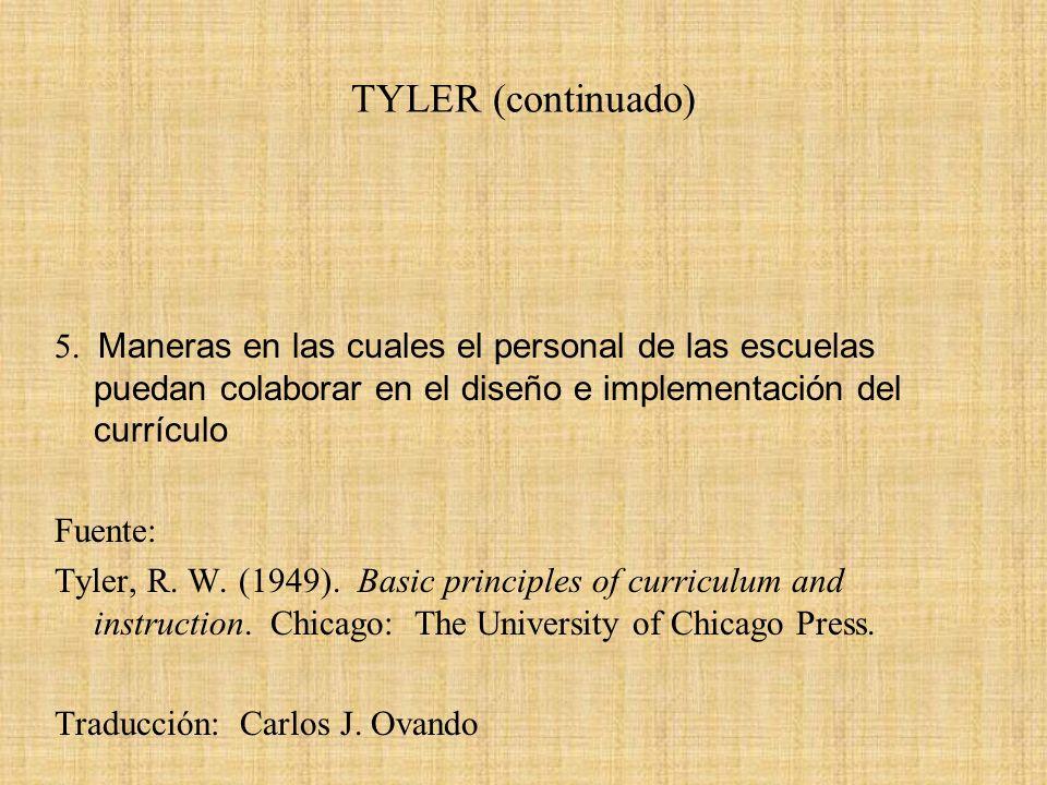 TYLER (continuado) 5. Maneras en las cuales el personal de las escuelas puedan colaborar en el diseño e implementación del currículo Fuente: Tyler, R.