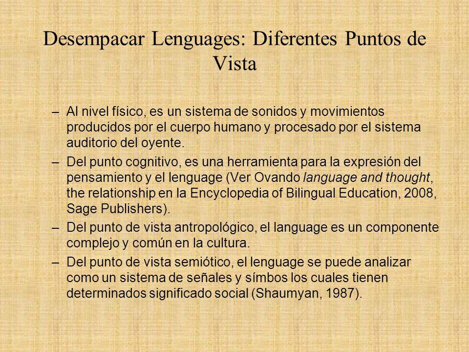 Desempacar Lenguages: Diferentes Puntos de Vista –Al nivel físico, es un sistema de sonidos y movimientos producidos por el cuerpo humano y procesado