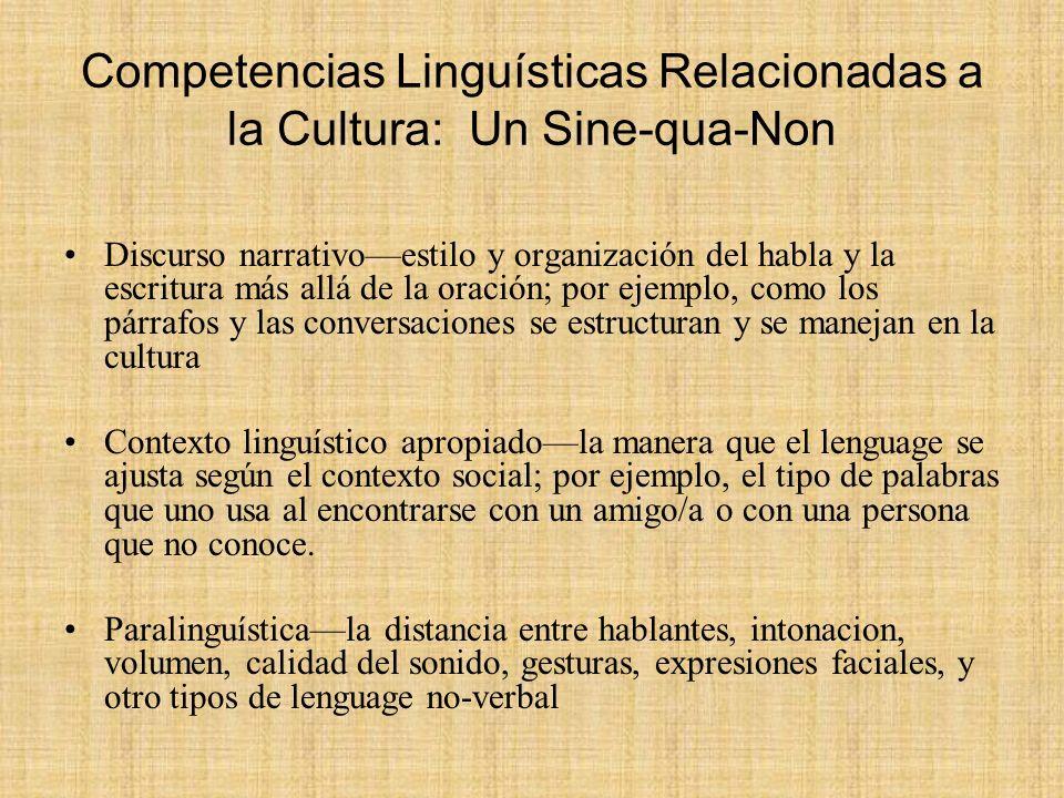 Competencias Linguísticas Relacionadas a la Cultura: Un Sine-qua-Non Discurso narrativoestilo y organización del habla y la escritura más allá de la o
