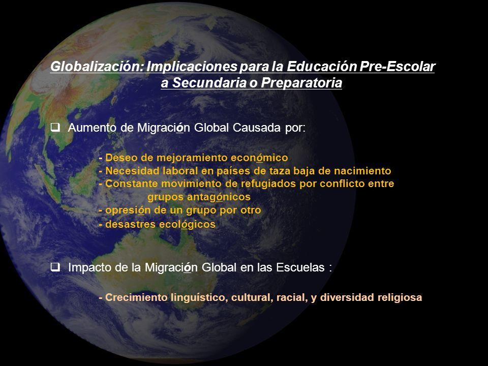 Globalización: Implicaciones para la Educación Pre-Escolar a Secundaria o Preparatoria Aumento de Migración Global Causada por: - Deseo de mejoramient