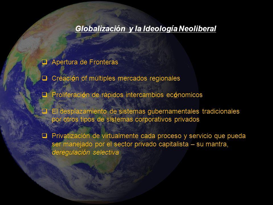Globalización y la Ideología Neoliberal Apertura de Fronteras Creación of múltiples mercados regionales Proliferación de rápidos intercambios ecónomic