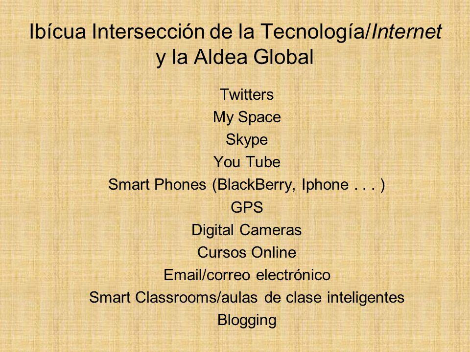 Ibícua Intersección de la Tecnología/Internet y la Aldea Global Twitters My Space Skype You Tube Smart Phones (BlackBerry, Iphone... ) GPS Digital Cam