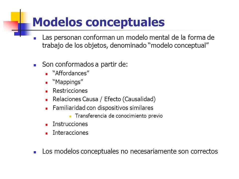 Modelos conceptuales Las personan conforman un modelo mental de la forma de trabajo de los objetos, denominado modelo conceptual Son conformados a par