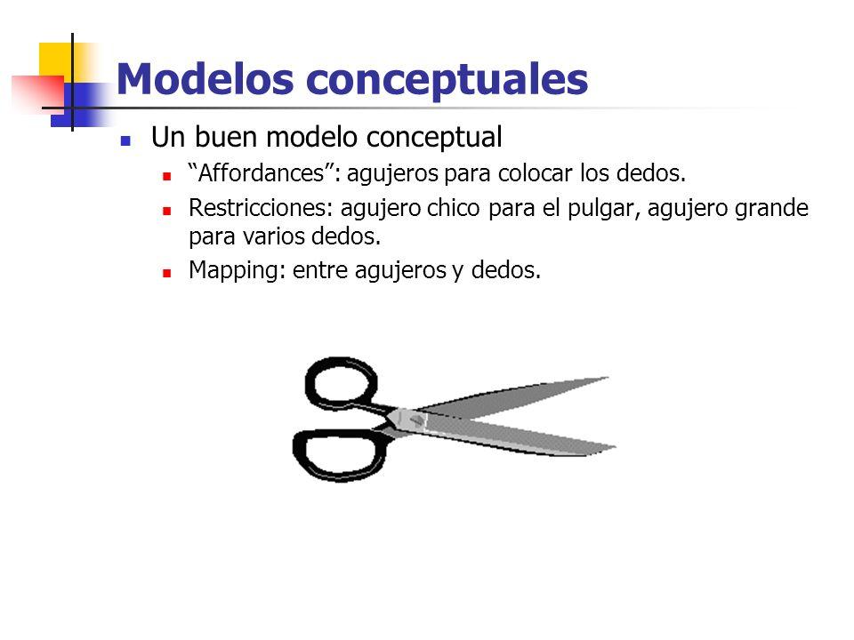 Modelos conceptuales Un buen modelo conceptual Affordances: agujeros para colocar los dedos. Restricciones: agujero chico para el pulgar, agujero gran